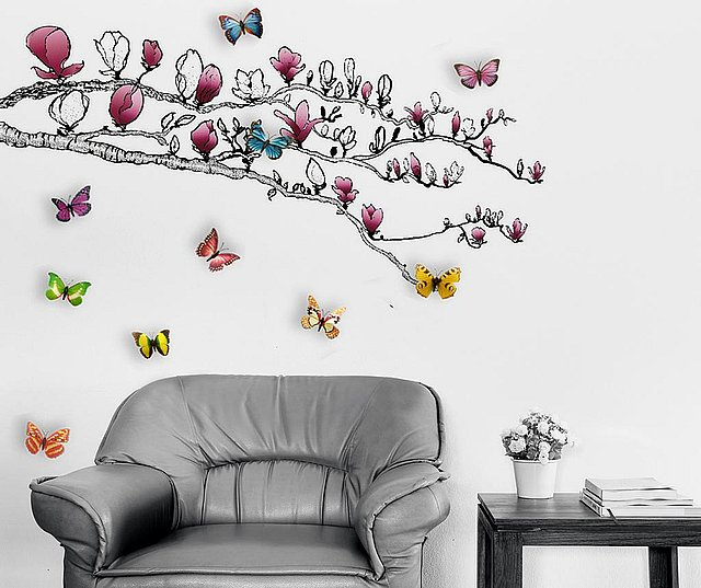 Sticker Magnolia and Colourful Butterflies