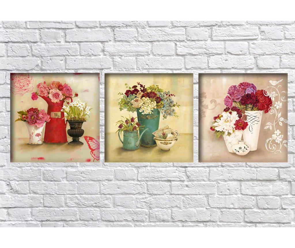Set 3 tablouri Flower Vases 30x30  cm
