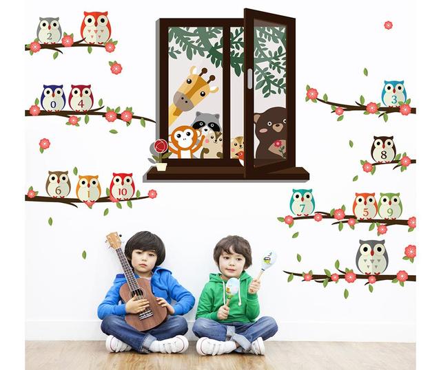 Sticker Animal Window View and Owl Nursery