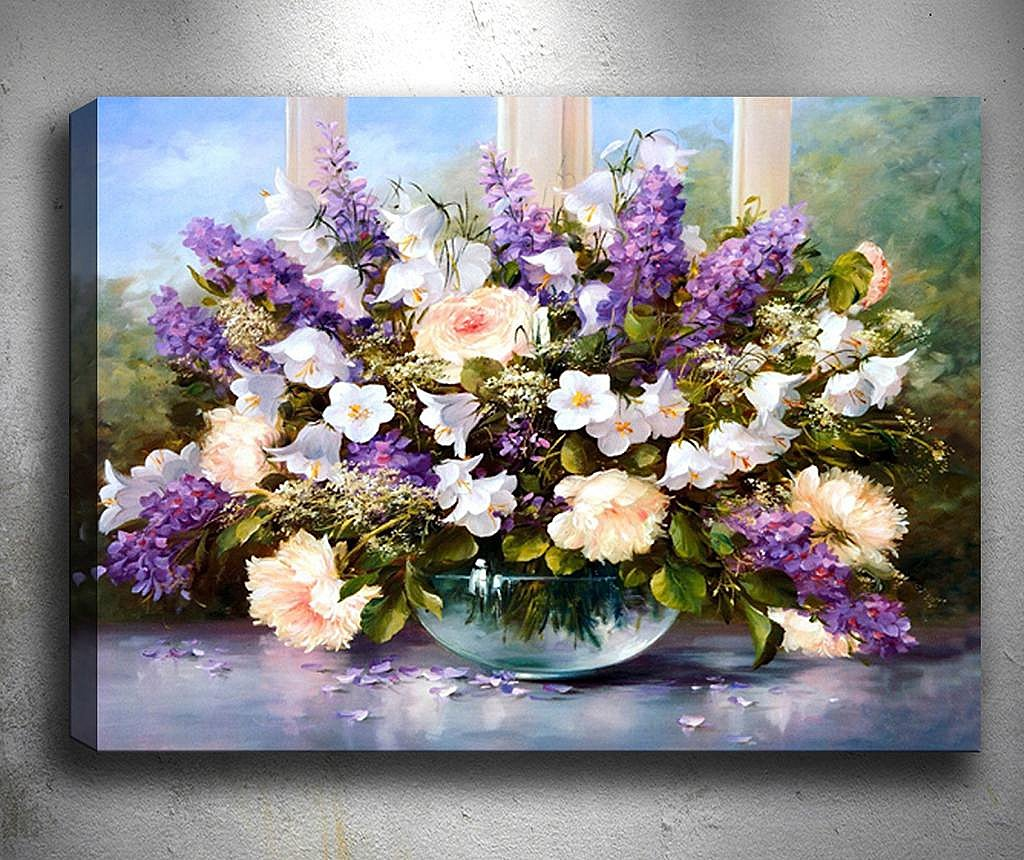 Tablou 3D Nice Purple Flowers 50x70 cm