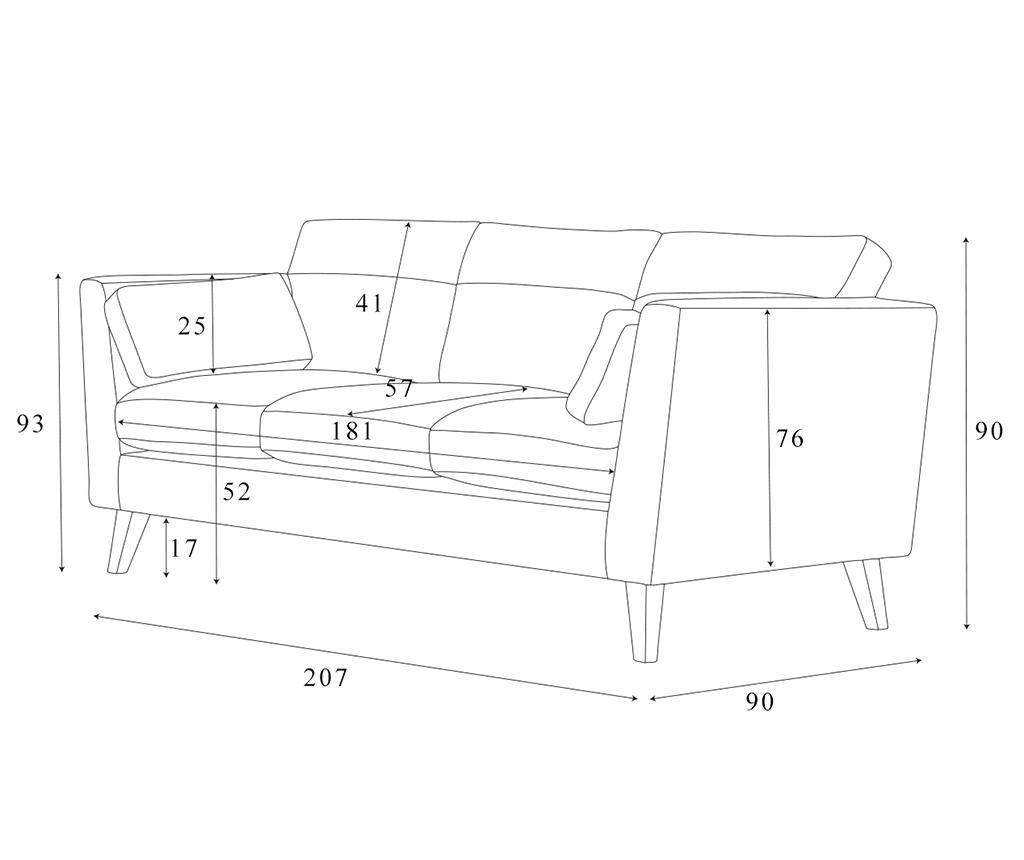 Canapea 3 locuri Elisa Anthracite