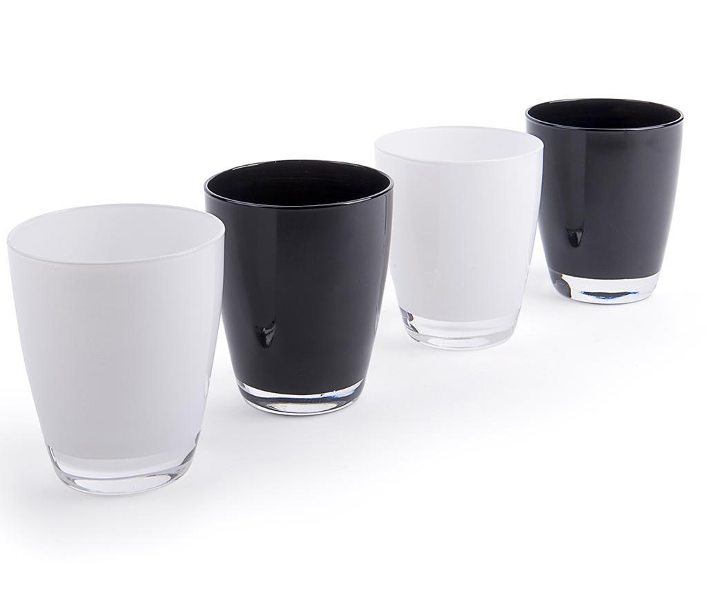 Set 4 pahare Black & White 300 ml