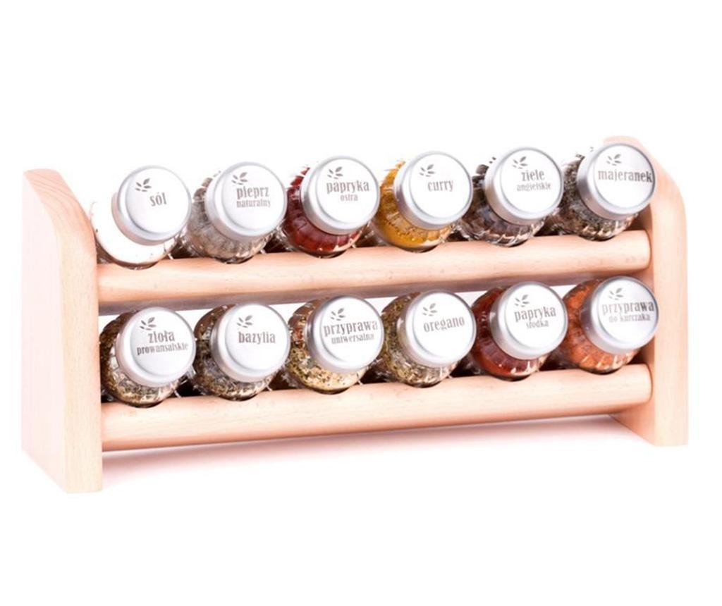 Set 12 recipiente cu condimente si suport suspendabil Special Natural