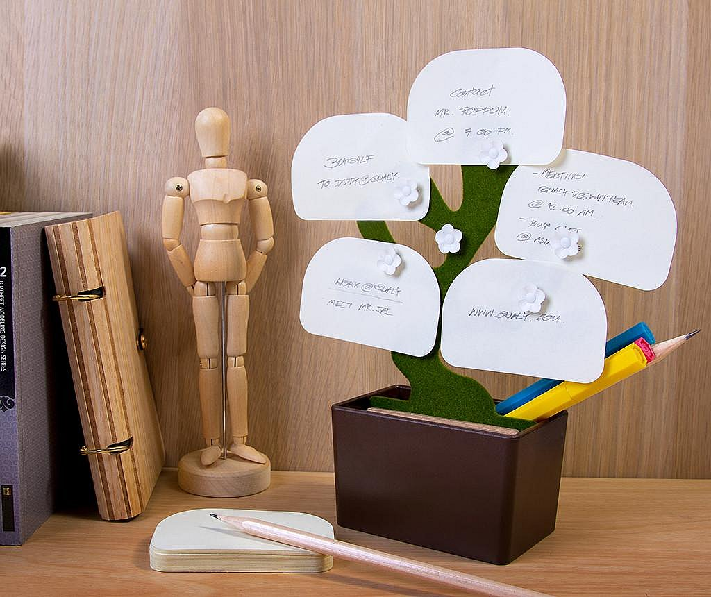 Set suport accesorii de birou, magneti si notite Bonsai