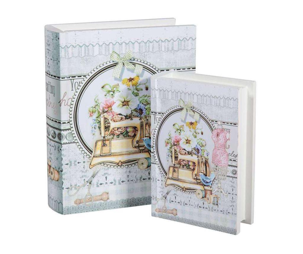Set 2 kutije  za šivaći pribor tipa knjige Romantic