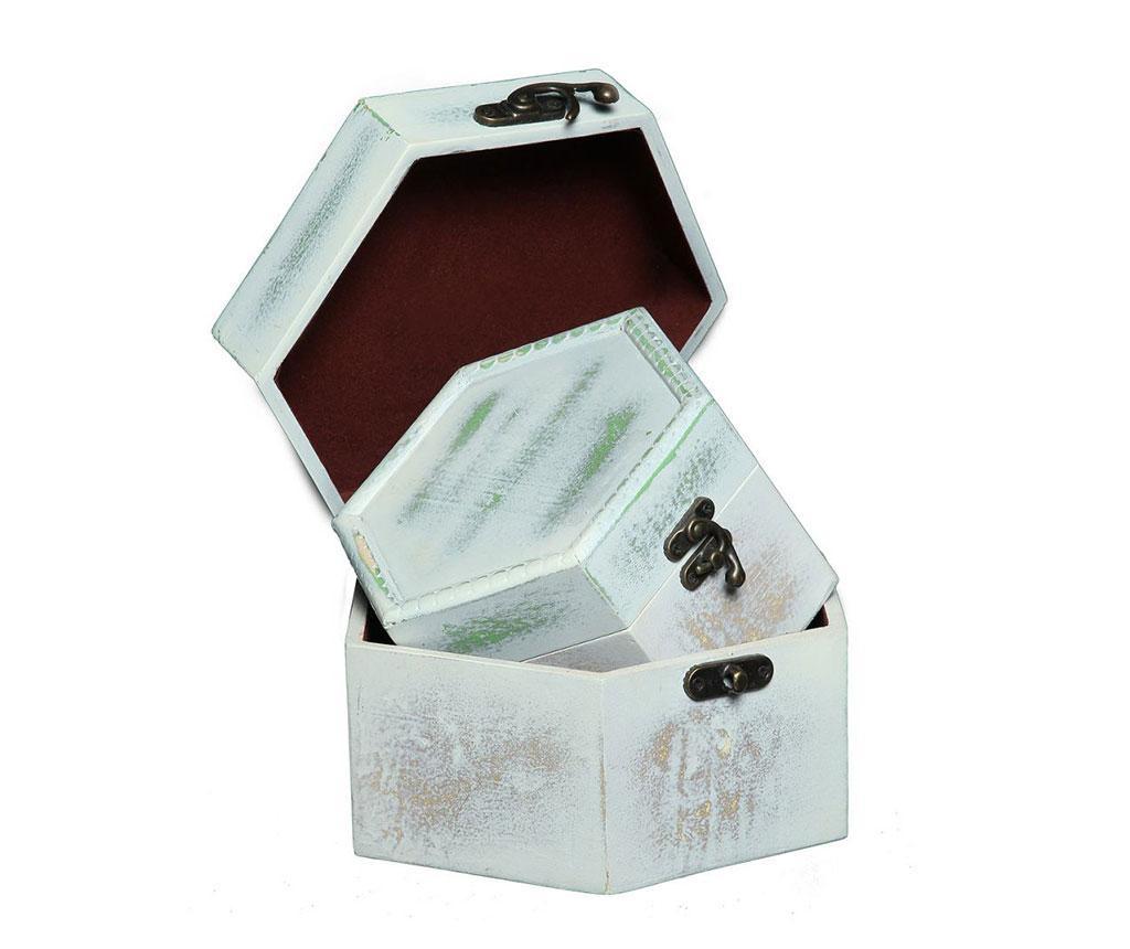 Set 2 kutije s poklopcem Hex Antique