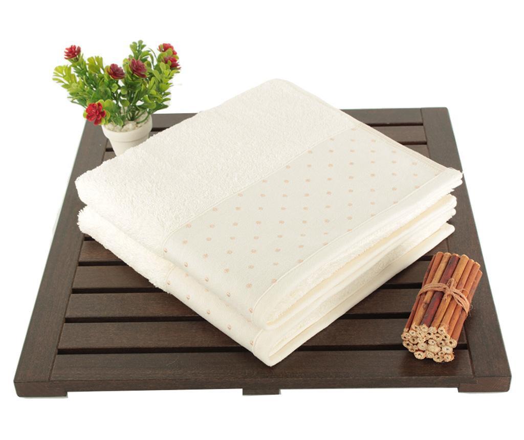Set 2 prosoape de baie Polka Dots White 50x90 cm