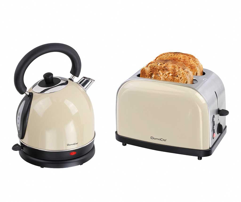 Комплект тостер за хляб и електрическа кана Vintage Breakfast Cream