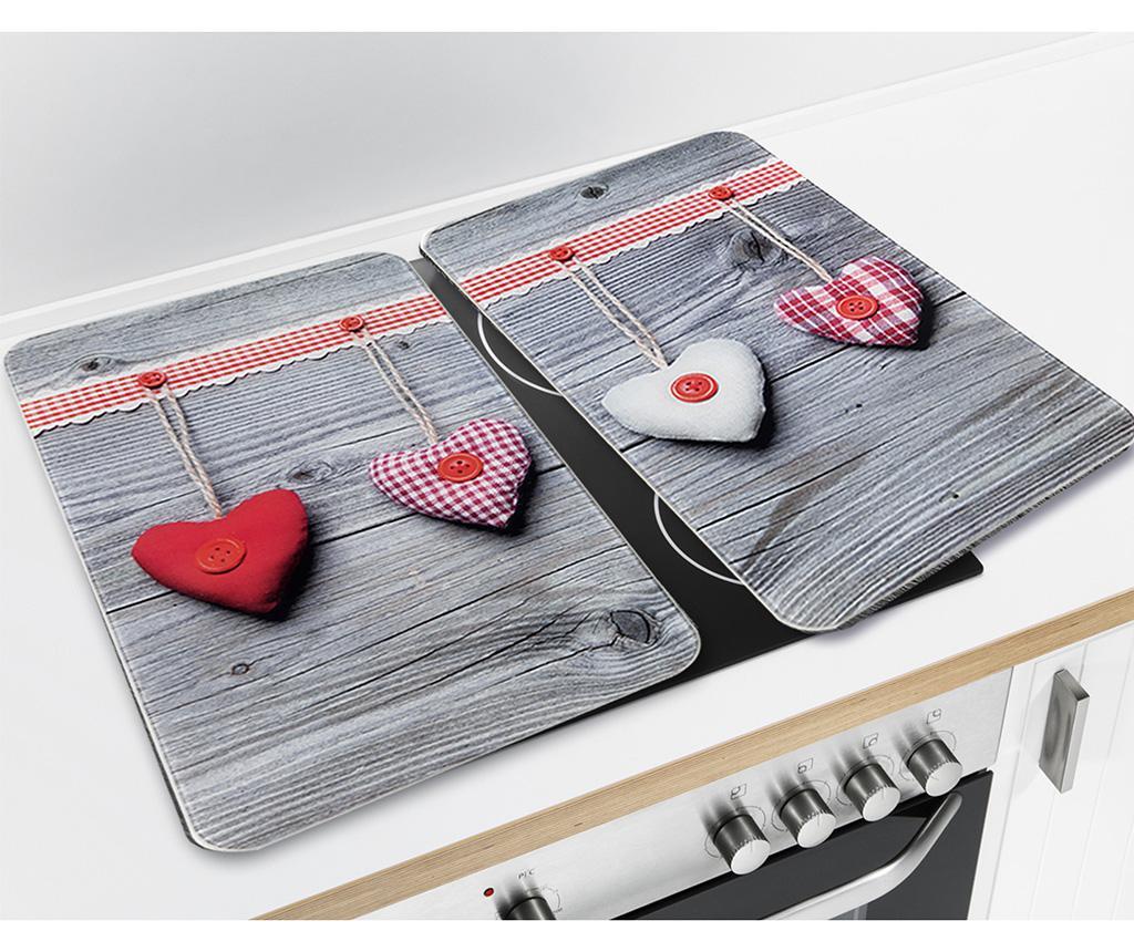 Set 2 planse protectoare pentru plita Hearts
