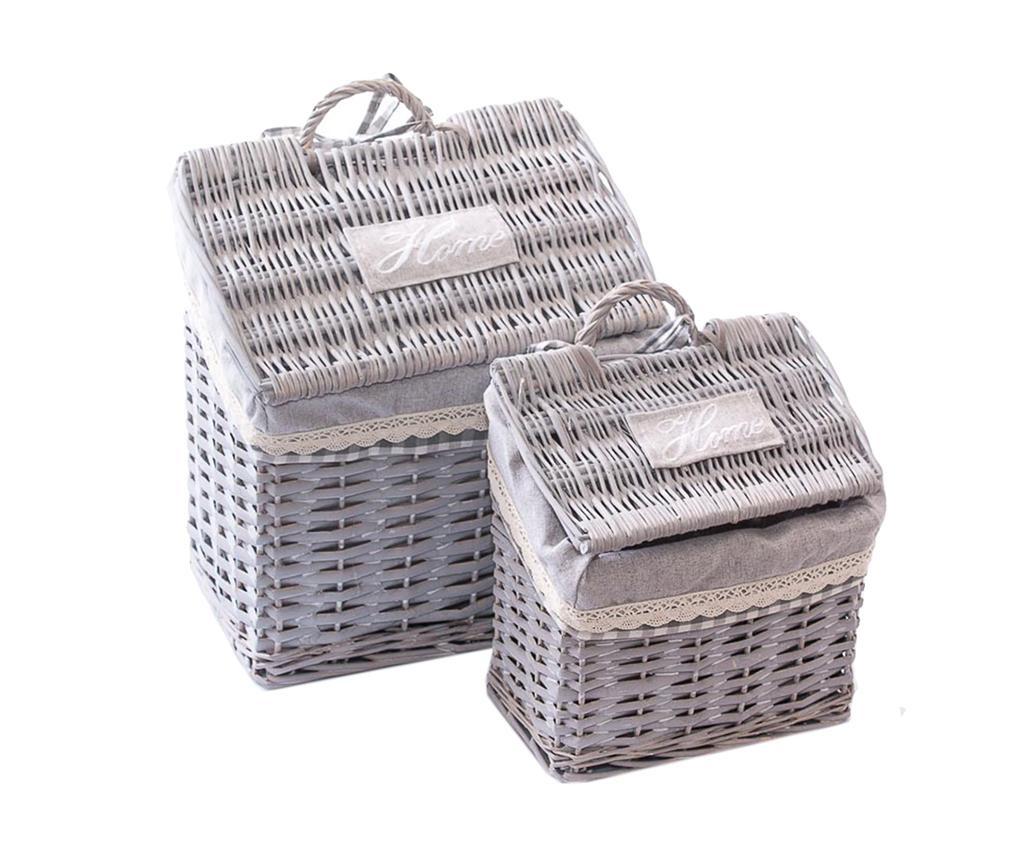 Set 2 košare s poklopcem Home Grey