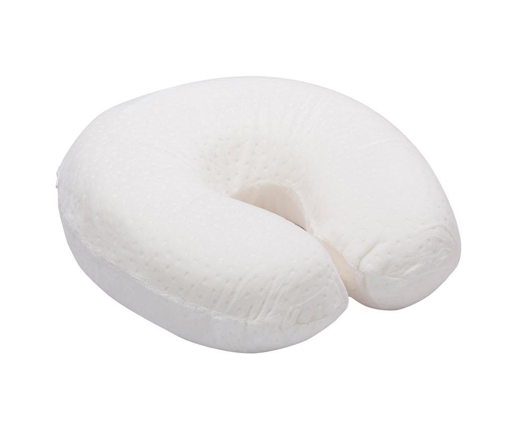 Perna pentru gat Memory Foam White 28x28 cm