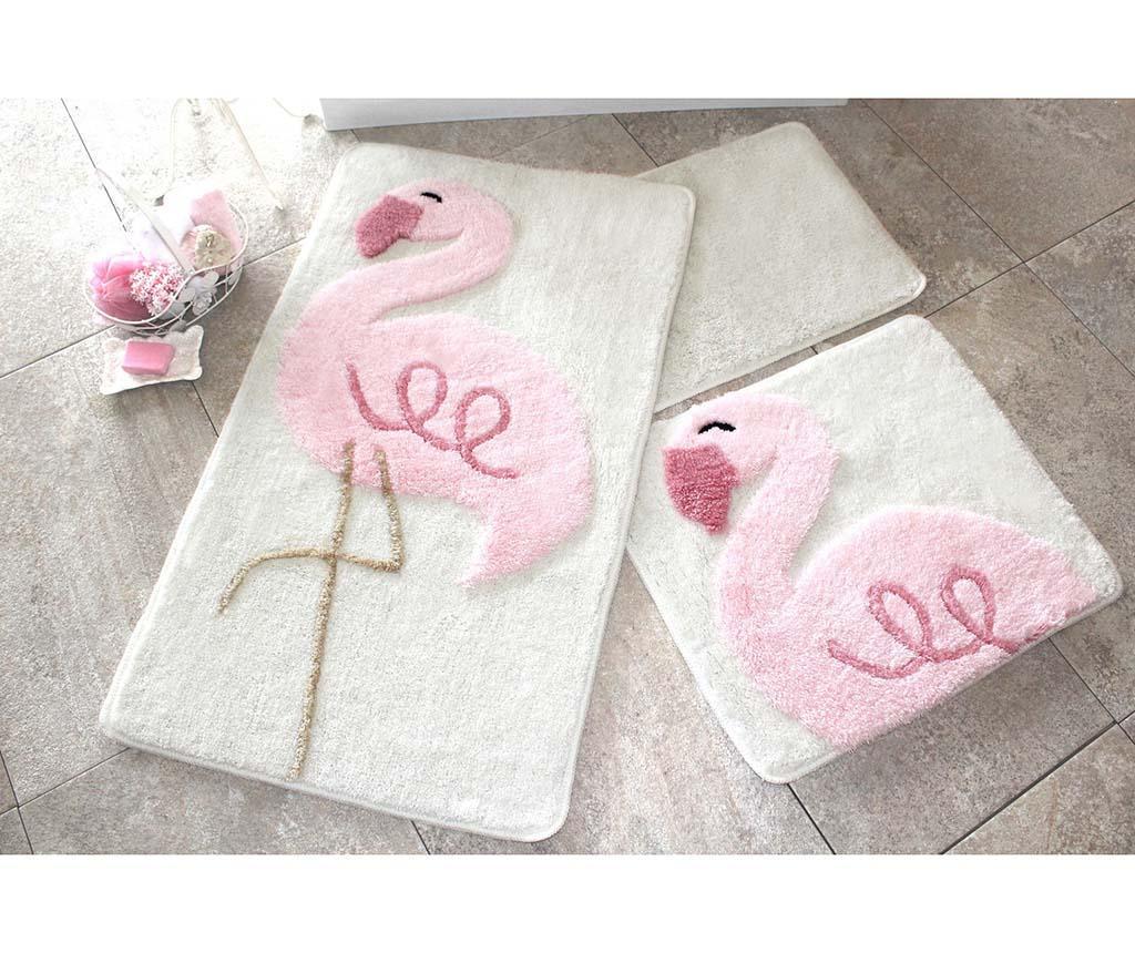 Zestaw 3 dywaników łazienkowych Pink Flamingos