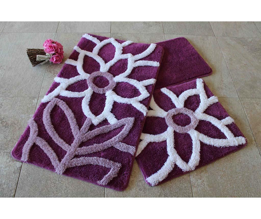 Zestaw 3 dywaników łazienkowych Naturel Purple