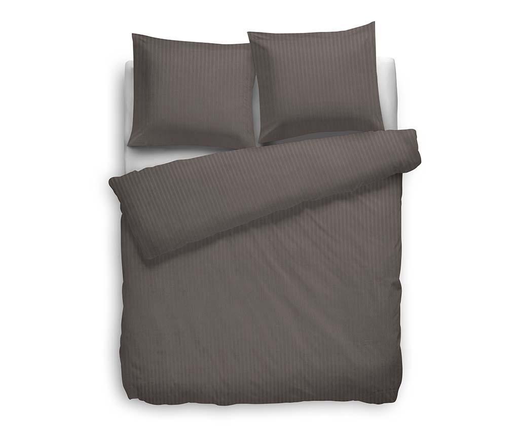 Set de pat King Satin Stripe Taupe Grey