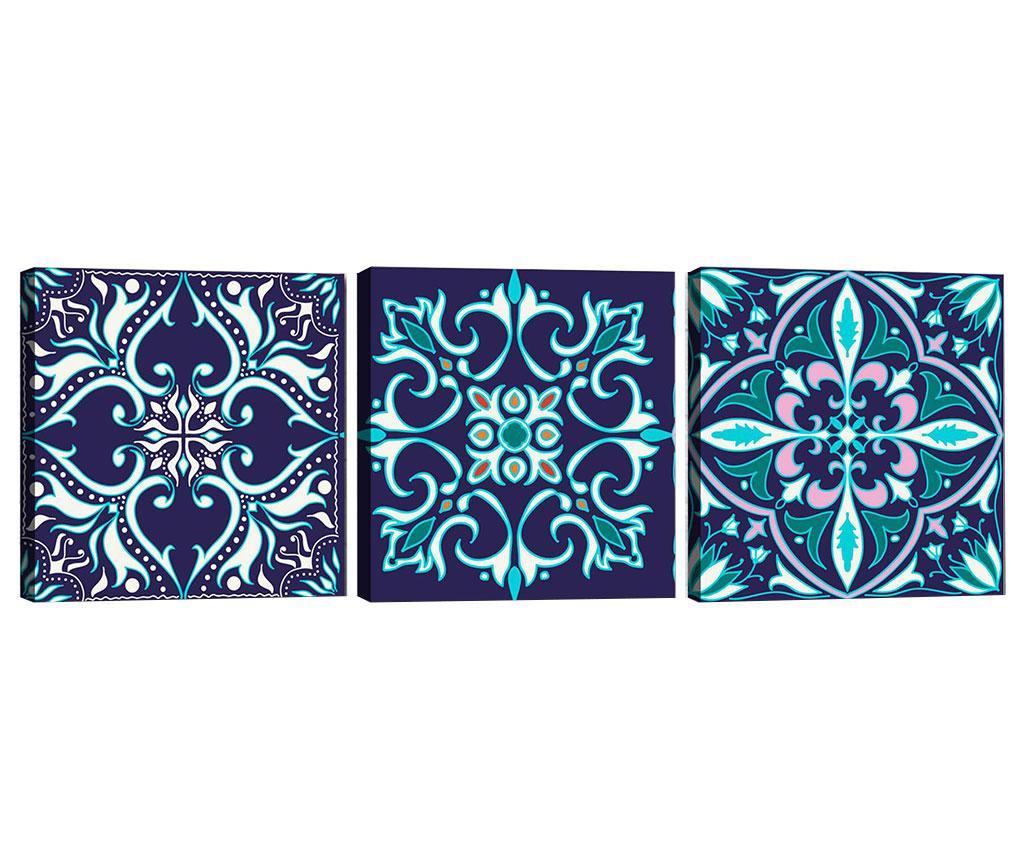 Set 3 tablouri Mandala Blue 30x30 cm