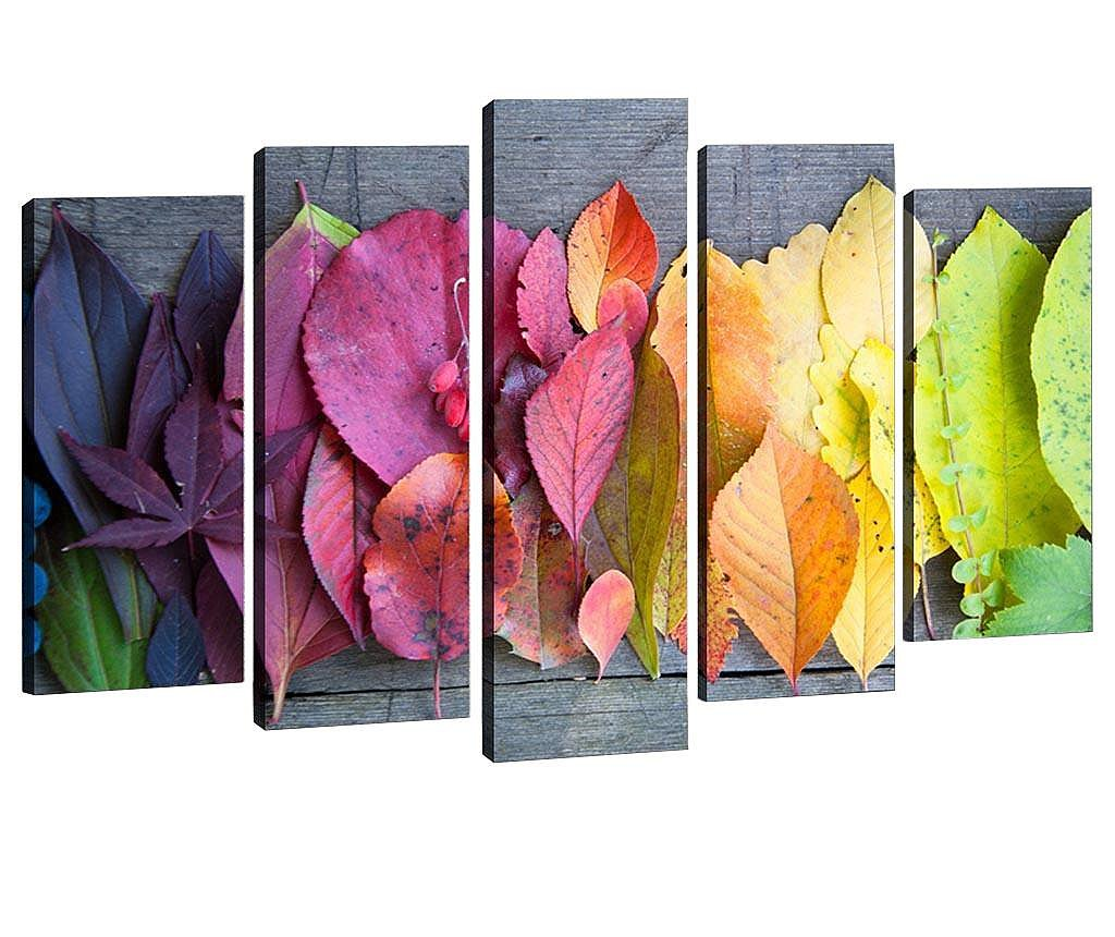 Set 5 tablouri 3D Gradient Leaves