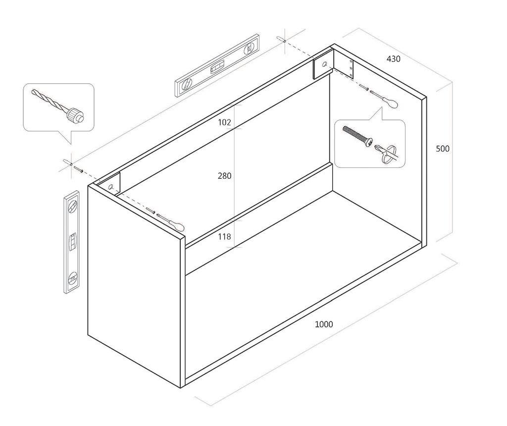 Czteroczęściowy zestaw mebli łazienkowych Marte Light Grey