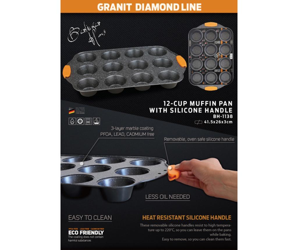 Tava de copt 12 briose Granit Diamond