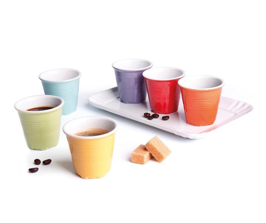 Set 6 pahare pentru cafea si tava Cup Shot