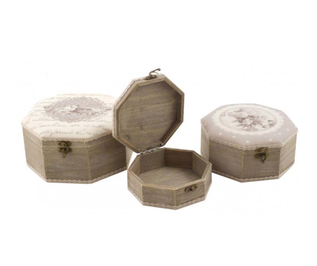 Set 3 kutije s poklopcem Romantic
