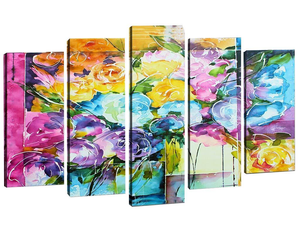Set 5 tablouri 3D Swirly Flowers
