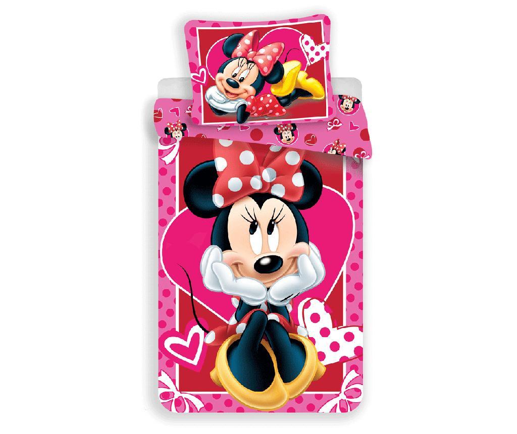 Set de pat Single Ranforce Minnie Mouse Hearts