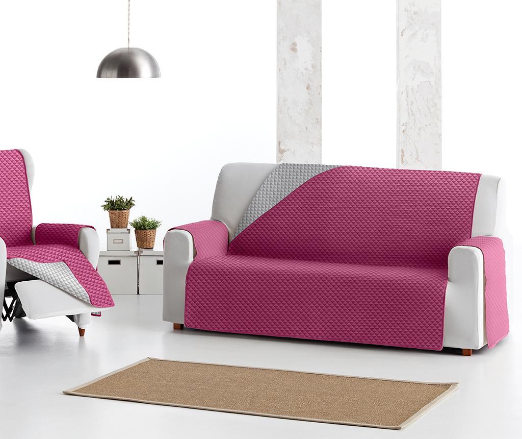 Prošivena navlaka za kauč Oslo Reverse Fuchsia & Light Grey 190x80x220 cm