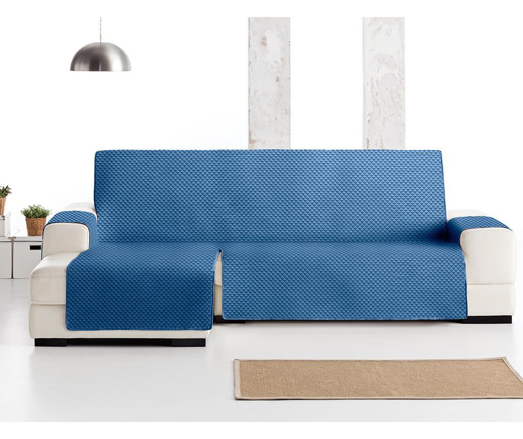 Pikowany pokrowiec na narożnik lewostronny Oslo Blue 290x150x80 cm