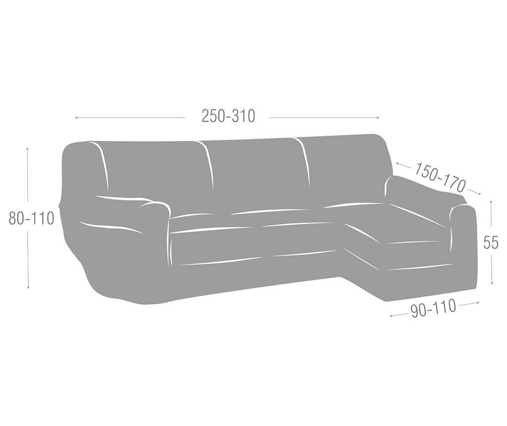 Elastična navlaka za desnu kutnu garnituru Ulises Grey 250x150x80 cm