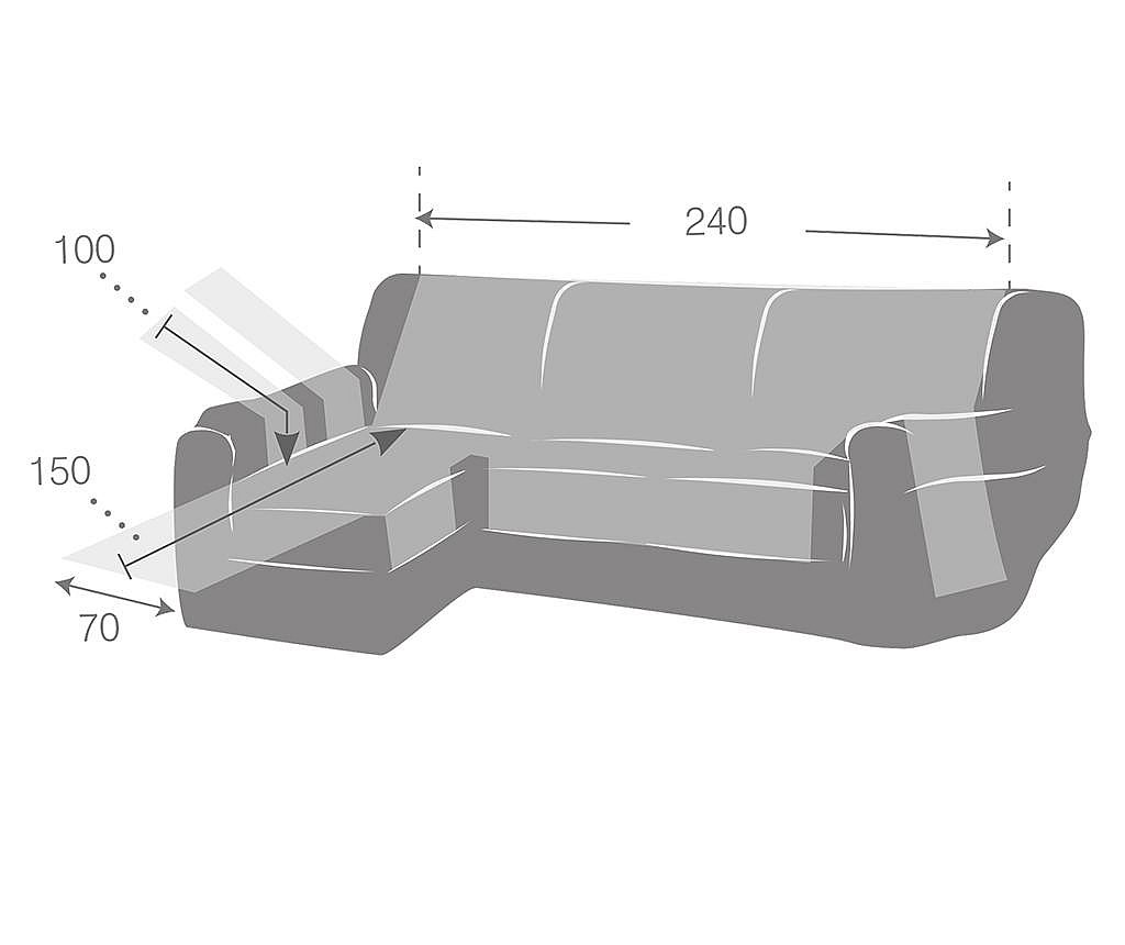 Navlaka za lijevu kutnu garnituru Zoco Grey 240x95x150 cm