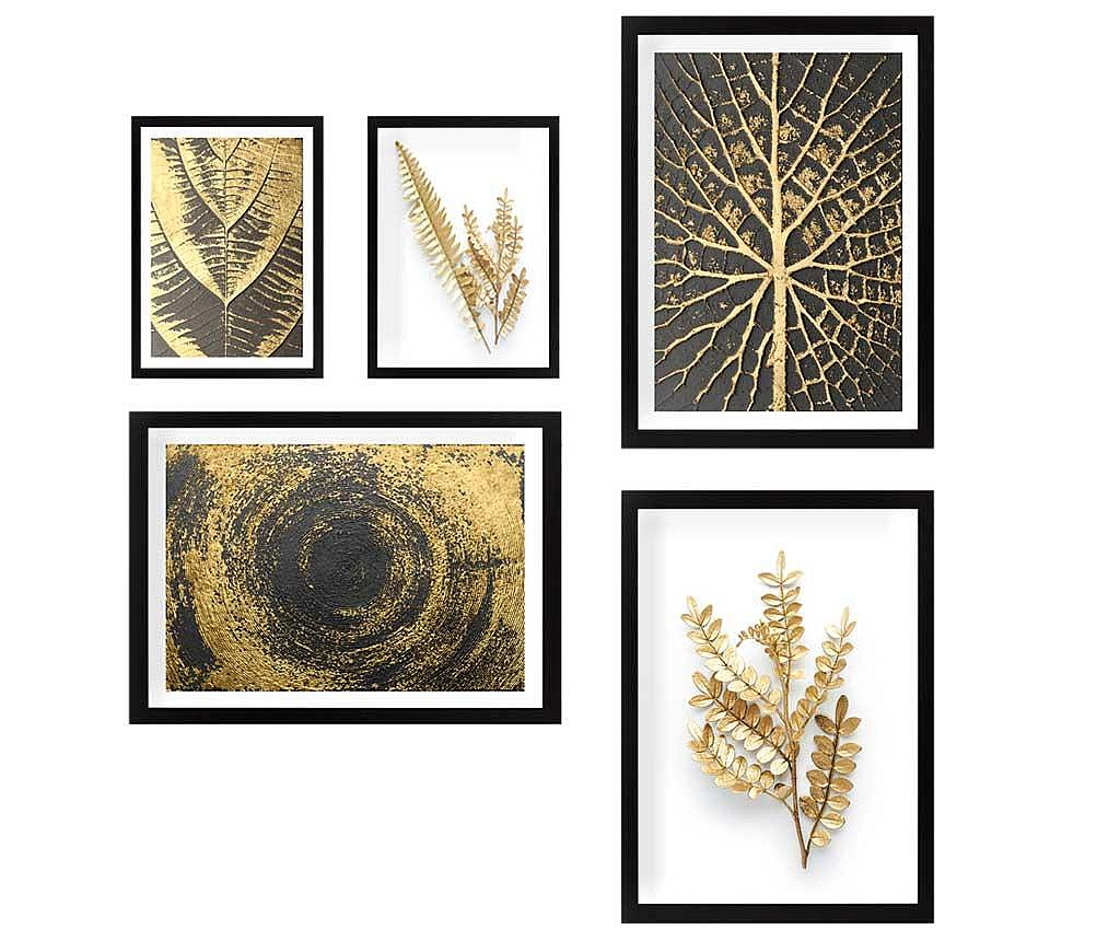 Set 5 tablouri Nature Gold