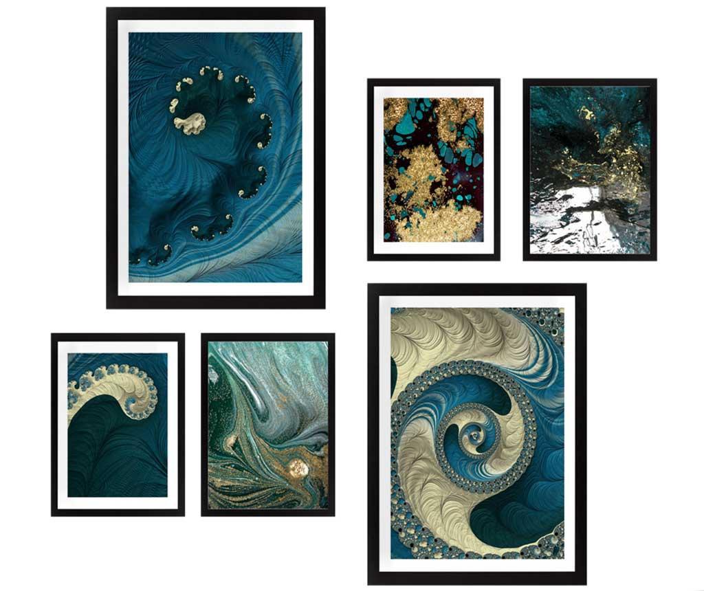 Set 6 tablouri Blue Spirals