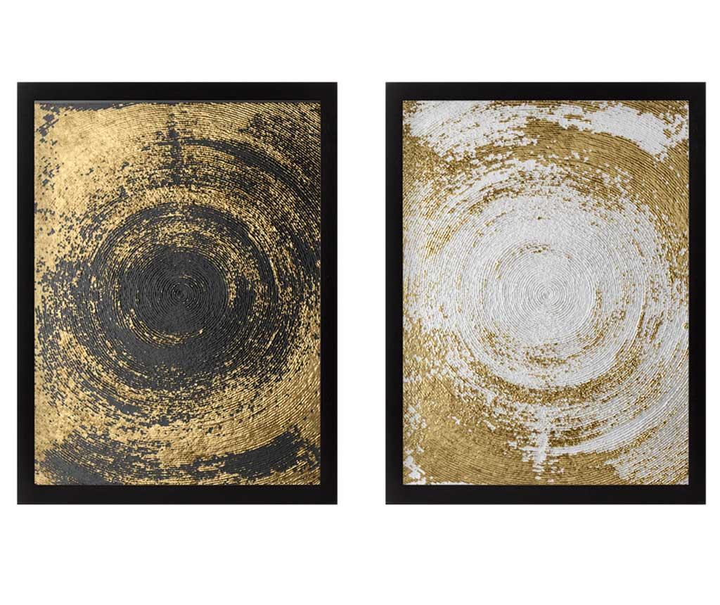 Set 2 tablouri Circles Golden 34x44 cm