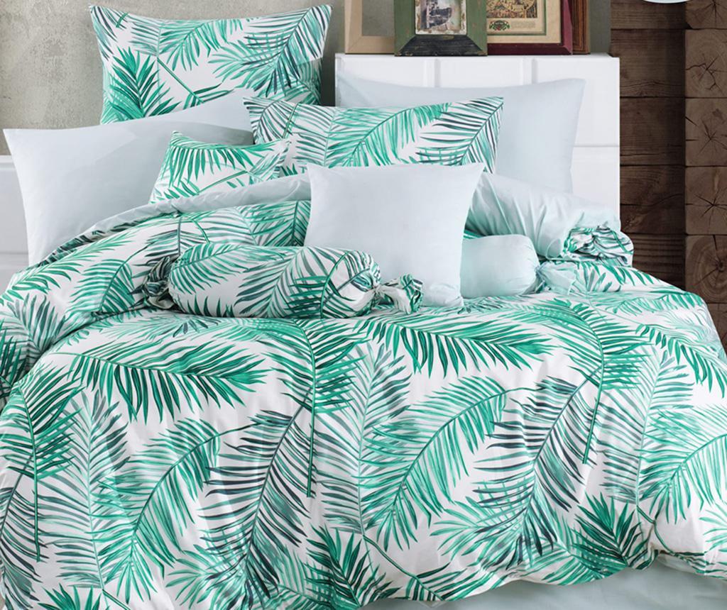 Lenjerie de pat King Ranforce Palms Green 200x220