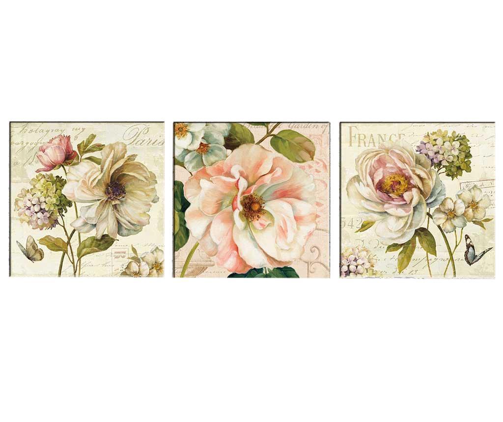 Set 3 tablouri Vintage Flowers 30x30 cm