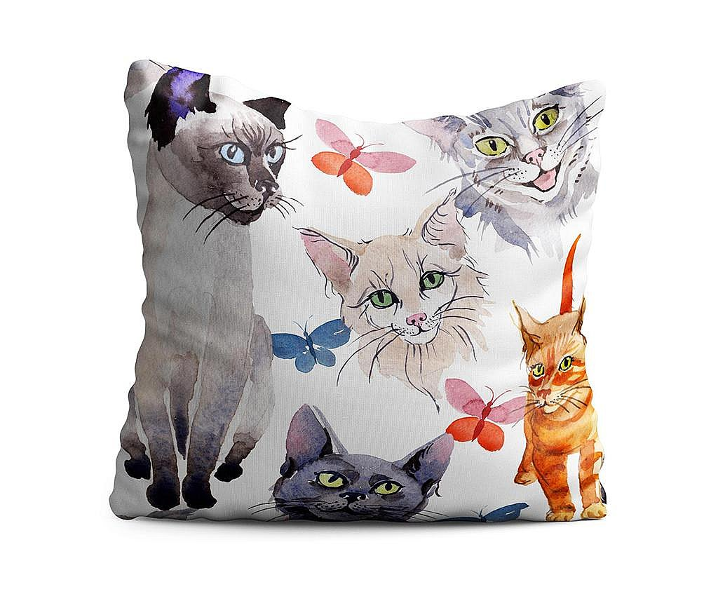 Perna decorativa Cats & Butterflies 43x43 cm