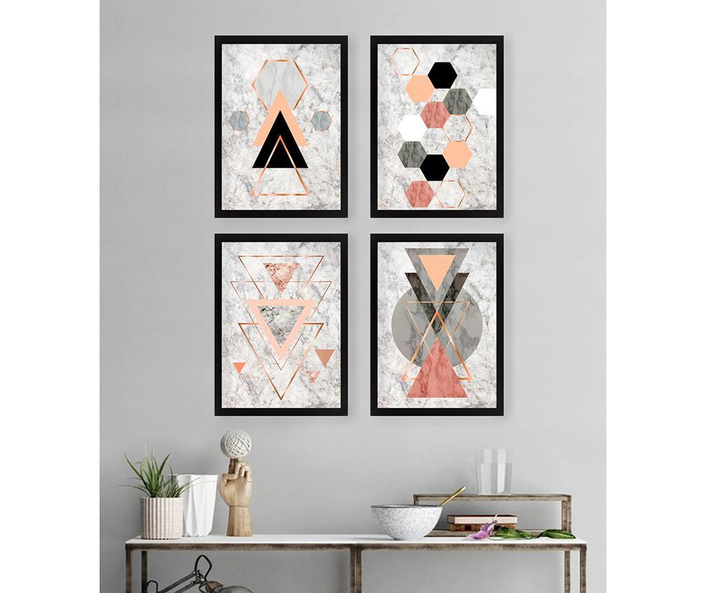 Set 4 tablouri Geometric 34x44 cm