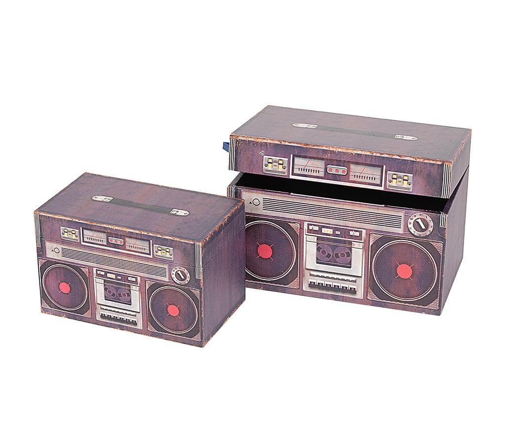Set 2 kutije s poklopcem Retro Radio