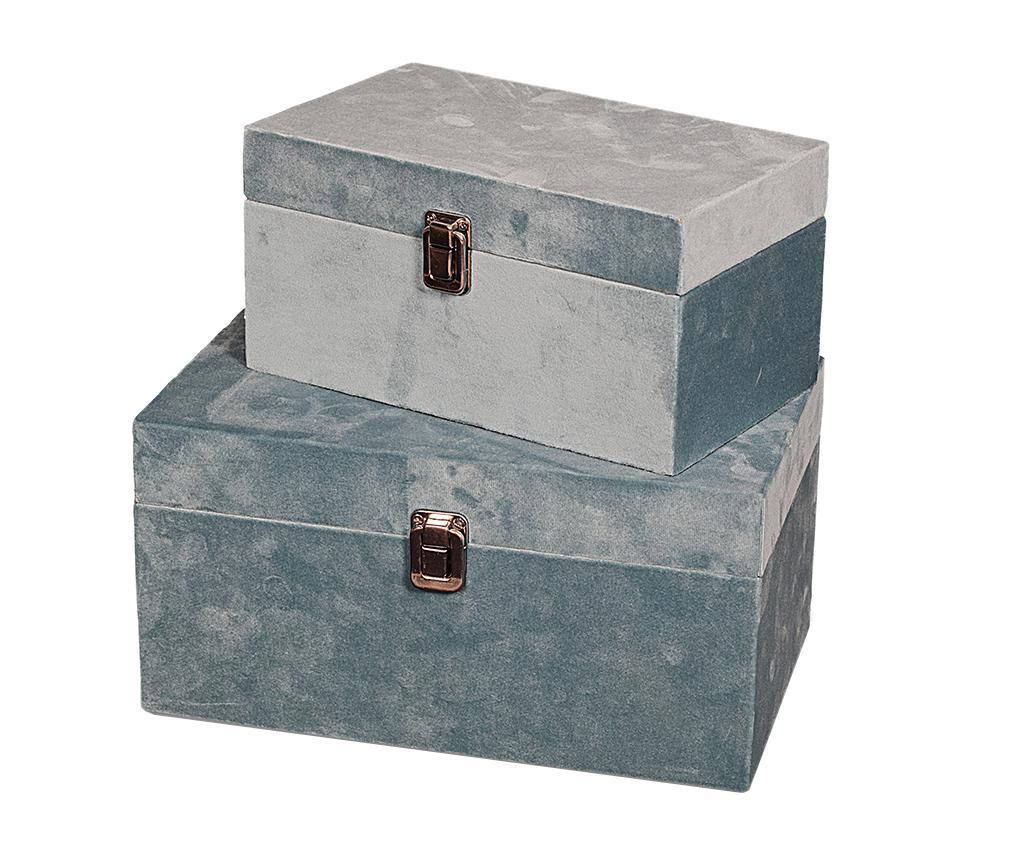Set 2 kutije s poklopcem Petra Blue