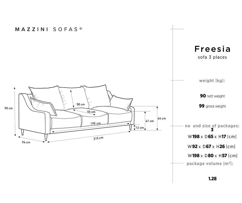 Canapea extensibila cu 3 locuri Freesia Brown