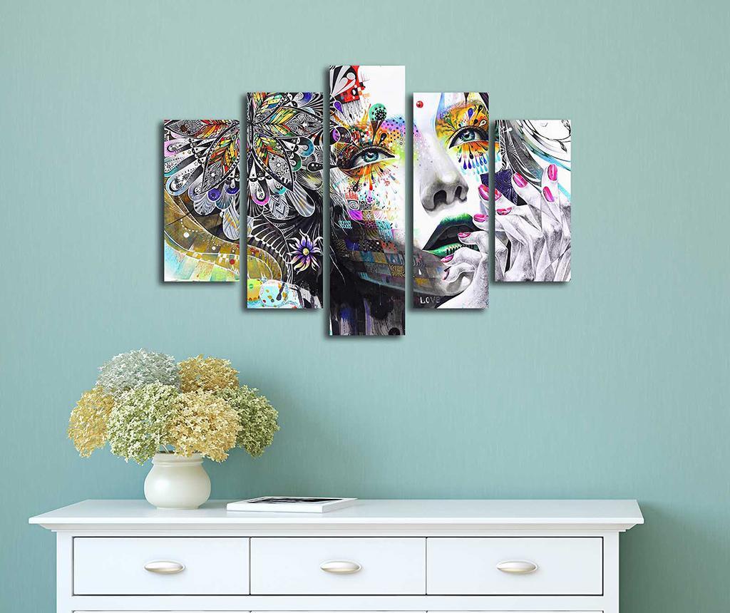 Set 5 tablouri Floral Face Art