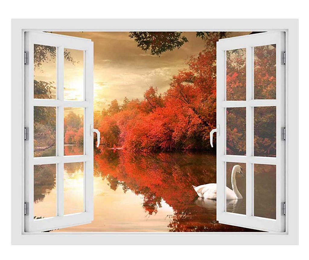 Naklejka 3D Window Sunset Swan