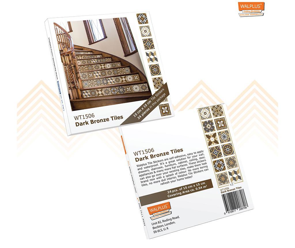 Set 24 stickere Tile Dark Bronze