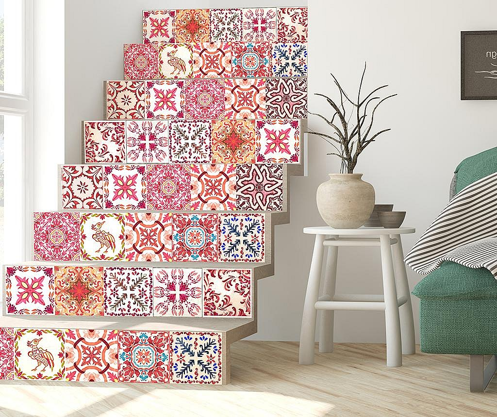 Set 24 stickere Tile Morrocan Rose
