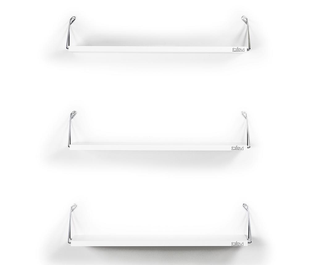 Set 3 rafturi de perete Altai White Silver