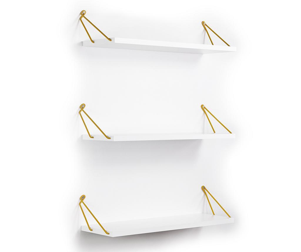Set 3 rafturi de perete Altai White Yellow