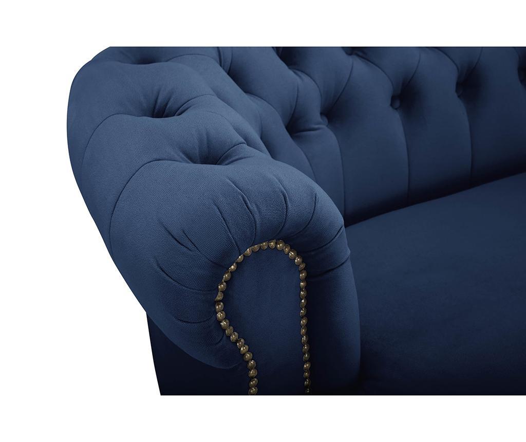 Canapea 3 locuri Chesterfield Curved Petrol Blue
