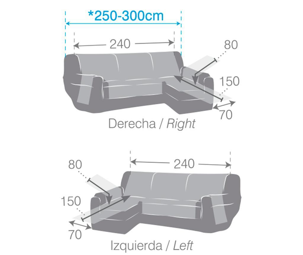 Pikowany pokrowiec na narożnik lewostronny Oslo Dark Grey 240x150x80 cm