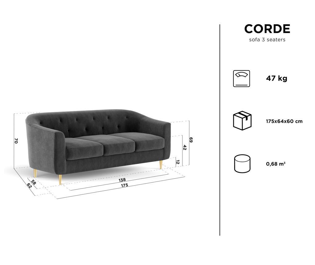 Corde Bottle Green Háromszemélyes kanapé