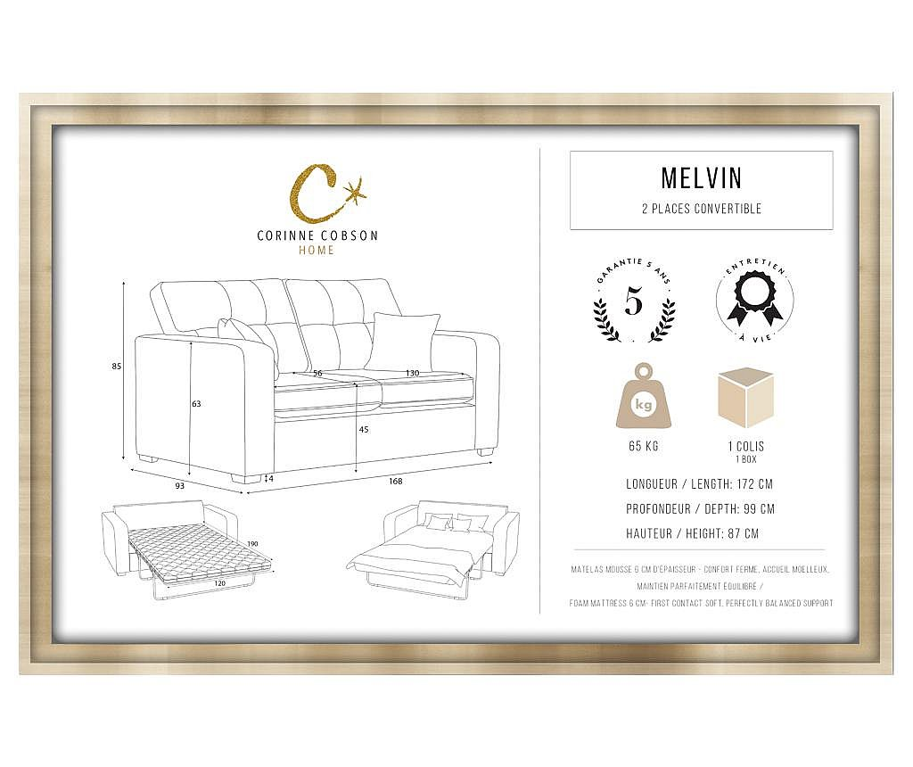 Canapea extensibila 2 locuri Melvin  Taupe